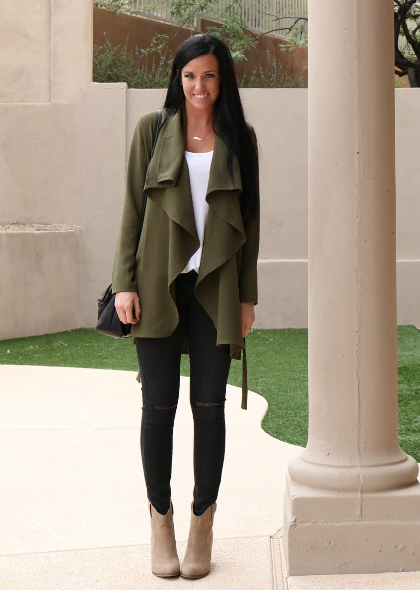 Army Green Waterfall Cardigan | Teacherfashionista | Jules