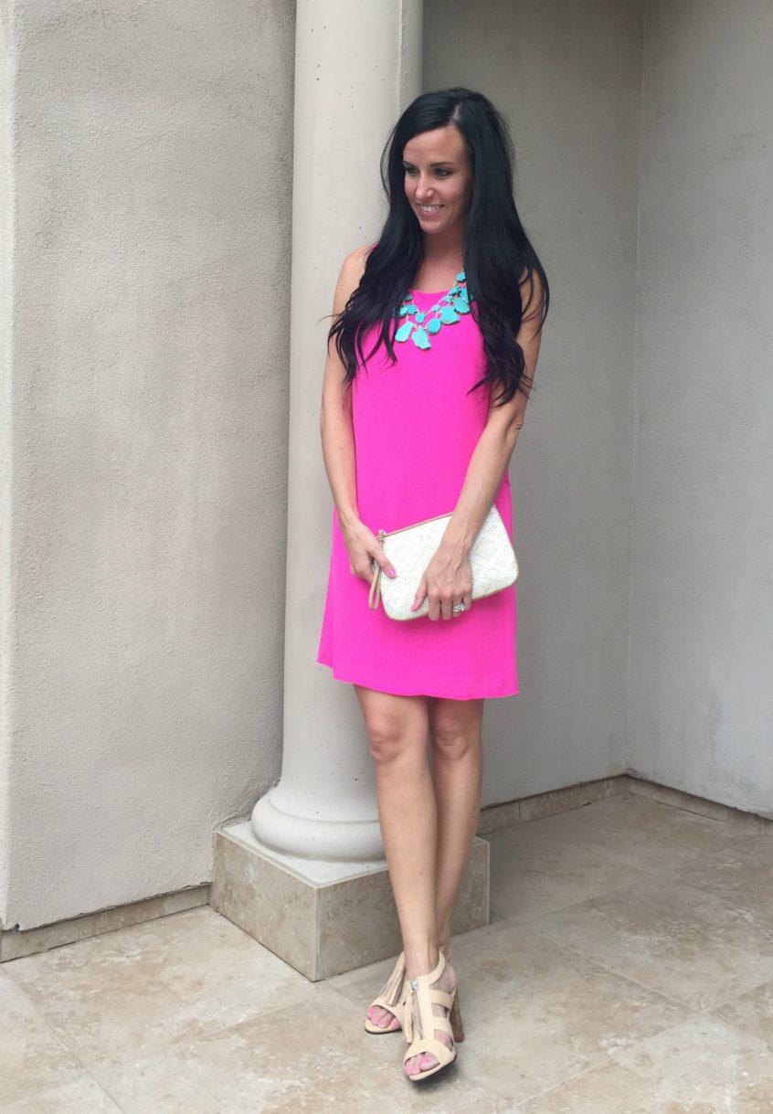 Hot Pink Shift Dress  TEACHER FASHiONiSTA